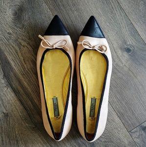 Prada Pointed Toe Leather Bow Flats 2 Tone US 10